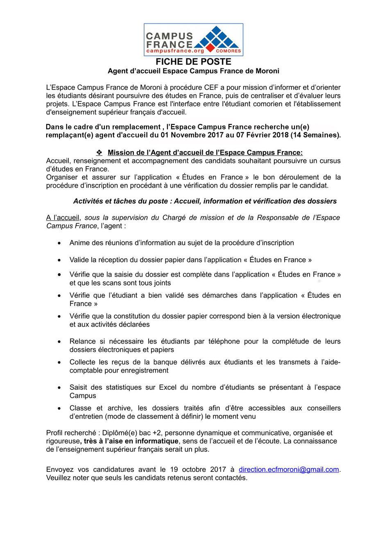 Populaire L'Espace Campus France recherche un(e) remplaçant(e) agent d  VY45